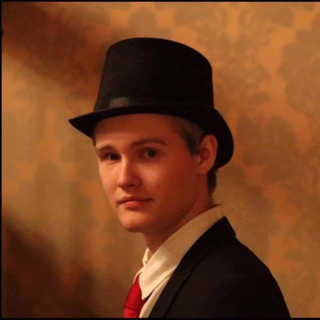 Nicholas Woode-Smith in a top-hat looking dapper